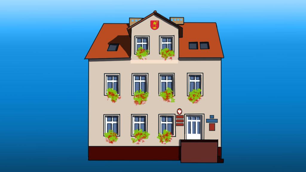 W pierwszym planie grafika przedstawiająca budynek urzędy gminy
