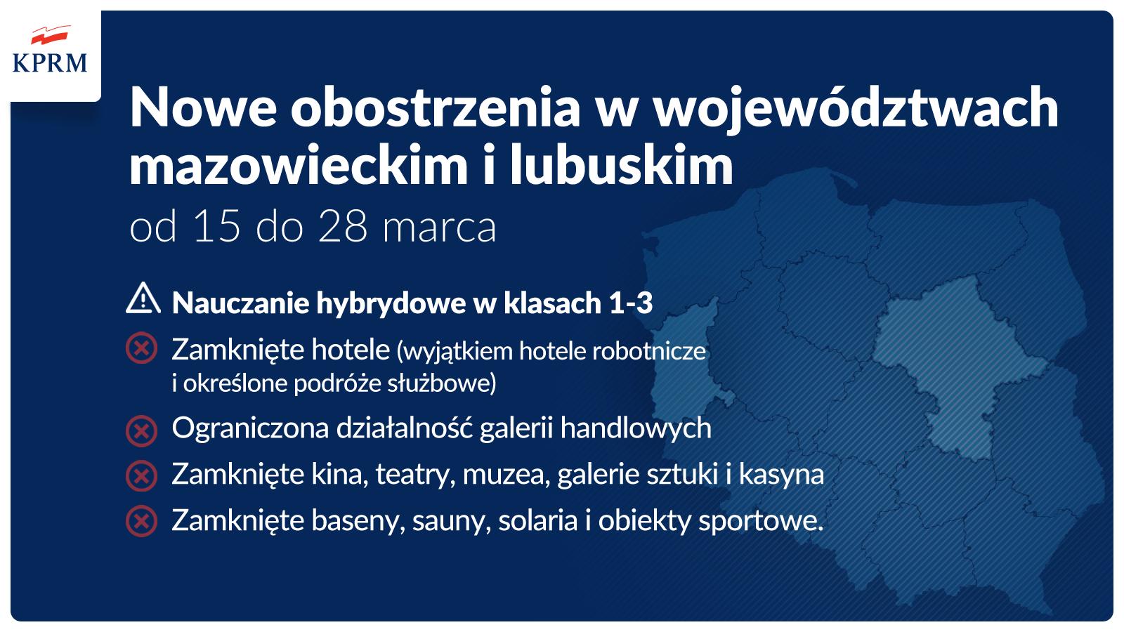 Lubuskie - 15 - 28 marca zamknięte hotele, kina, teatry, muzea, galerie sztuki, baseny, sauny, solaria, obiekty sportowe, ograniczona działalność galerii handlowych