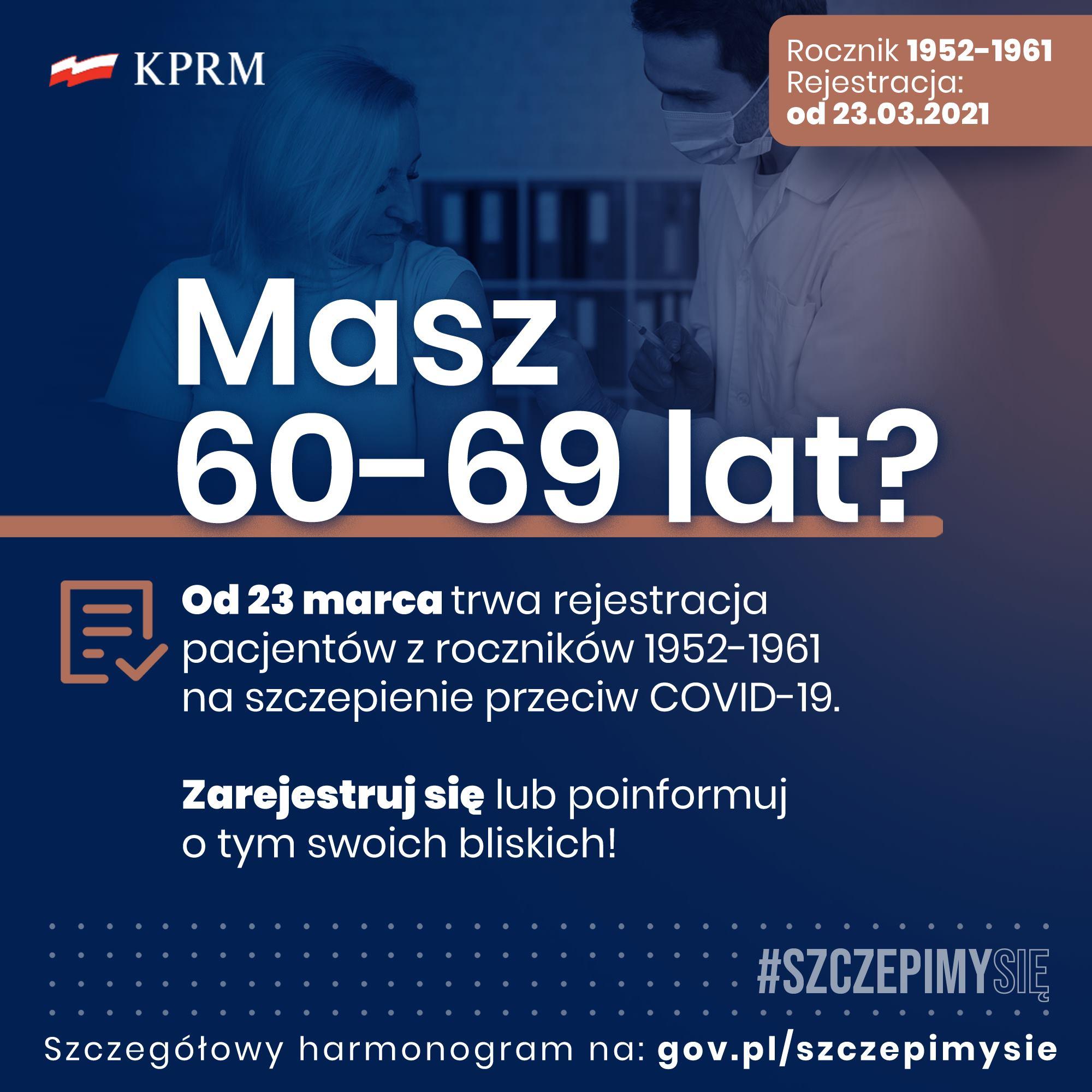 Trwa rejestracja pacjentów z roczników 1952 - 1961. Szczepienia przeciw covid-19
